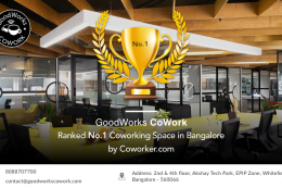 GoodWorks awarded No.1 Coworking space in Bangalore for 2019!